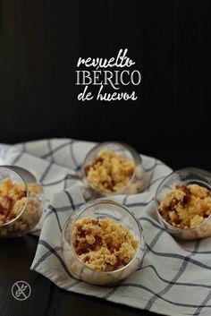 Revuelto ibérico de huevos {by Paula, Con las Zarpas en la Masa} Tapas, Cereal, Muffin, Breakfast, Recipes, Food, Egg Recipes, Appetizers, Cooking