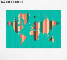WORLD MAP, Time Zones, Giclee Fine Art Print, Abstract Wall Art, Home Decor by Modern Artist Jazzberry Blue