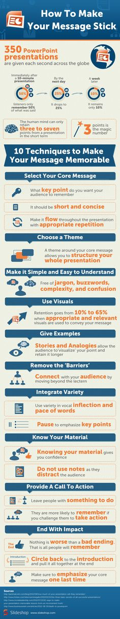 With 350 Powerpoint presentations given each second around the globe. How to make your message stick?
