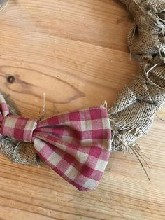 Hessian Wreath with Red Gingham Bow detail 30cm