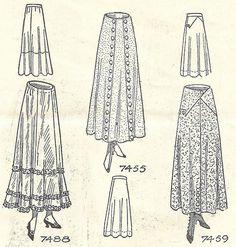 Ladies skirts and petticoat styles from Needlecraft Magazine, December 1915. #Edwardian #vintage #fashion