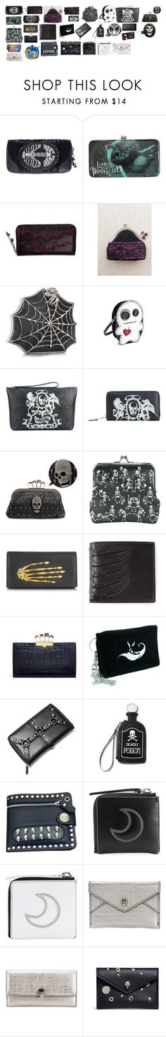 """""""Wallets and Clutches"""" by switchback13 on Polyvore featuring Disney, Banned, Nemesis, Bernard Delettrez, Alexander McQueen, Villain, Killstar, Current Mood, Loungefly and Marc by Marc Jacobs"""
