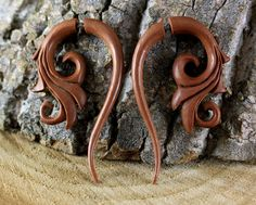Faux Gauge, Carved Wood Earrings, Teak - Organic Jewelry Primitive Body Adornment Carvings Tribal Style Cheater Expander Fake Gauges T024
