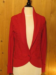Tommy Hilfiger W's Cable Knit Sweater Jacket Red X-Small 89.50 - NWT