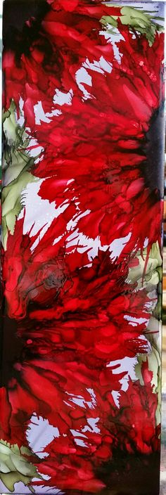 Bold Flowers in alcohol ink on 12x4 ceramic tile by Tina