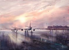 Hong Kong Airport II by Keiko Tanabe Watercolor ~ 21.5 x 29.5 inches (55x75 cm)