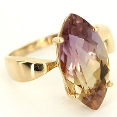 Estate 14 Karat Yellow Gold Ametrine Cocktail Ring Fine Jewelry Pre-Owned Used  $295