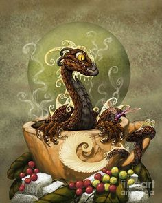 Coffee Dragon Digital Art by Stanley Morrison - Coffee Dragon Fine Art Prints and Posters for Sale