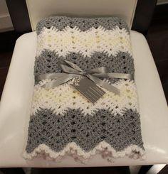 Crochet Chevron Baby Blanket Unisex Baby Boy Blanket Baby Girl Blanket Gray White Beige Pale Yellow Grey Shower Gift New Baby Gift on Etsy, $889.19: