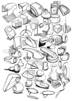 quick sketches with a variety of forms/products on one page. Cool Sketches, Drawing Sketches, Drawings, Id Design, Sketch Design, Thumbnail Sketches, Line Sketch, Object Drawing, Industrial Design Sketch