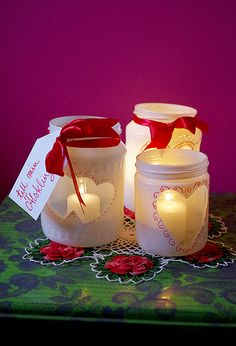 Alla Hjärtans Dag-lyktor Valentine Crafts, Valentines Day, Candle Jars, Candles, Where The Heart Is, Form, Diy For Kids, Diy Gifts, Preschool