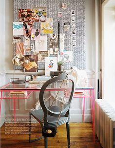 Pink desk, board