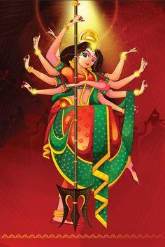 "Ugadi is also called ""Samvatsarādi"" or ""Yugadi"", is a festival based on calculation of onset of spring Kali Goddess, Goddess Art, Navratri Wallpaper, Durga Painting, Durga Maa Paintings, Happy Navratri Images, Durga Images, Shiva Lord Wallpapers, Indian Folk Art"