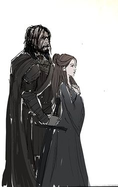 "A fanart sketch of Sansa Stark and Sandor Clegane from J.R.R. Martin's ""A Song of Ice and Fire""."