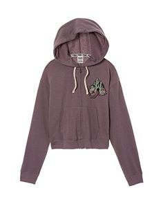 VICTORIA'S SECRET Pink NEW Cropped Full Zip Hoodie Color Mauve (Small)