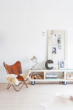 Butterfly chair and Trash me lamp in the fuss-free and laid back Dutch home of Marieke Rusticus.