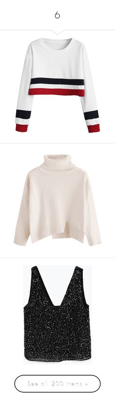 """6"" by vic-eremina ❤ liked on Polyvore featuring tops, crop top, white top, white striped top, cut-out crop tops, stripe crop top, sweaters, oversized turtleneck sweater, slit sweater and turtleneck sweaters"