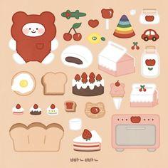 Printable Scrapbook Paper, Printable Stickers, Cute Stickers, Laptop Stickers, Cute Food Drawings, Easy Drawings, Journal Stickers, Planner Stickers, Korean Stickers