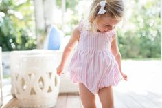 Petit Atelier Madeleine Pink Stripe Girl's Bubble