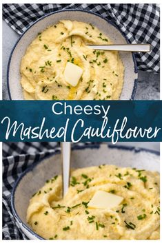 Cheesy Mashed Cauliflower Recipe (Cauliflower Mash) Cheesy Mashed Cauliflower is a healthy (and tasty) alternative to regular mashed potatoes. Learn how to make cauliflower mash with this simple recipe! via Becky Califlower Mashed Potatoes, Cheesy Mashed Cauliflower, Cheesy Potatoes, Baked Potatoes, Low Carb Recipes, Vegetarian Recipes, Cooking Recipes, Healthy Recipes, Skillet Recipes