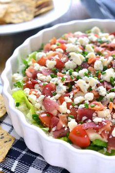 Wedge Salad Dip has all the flavors of a wedge salad in a delicious and easy dip recipe that's perfect for game day! Get the easy game day dip recipe here! Dip Recipes, Salad Recipes, Cooking Recipes, Healthy Recipes, Cooking Games, Party Recipes, Cooking Classes, Cooking Fish, Avocado Recipes