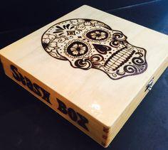Sugar Skull Cigar- Style Stash Box - Wood Burned - My Sugar Skulls