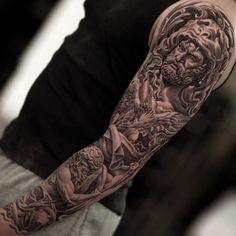 Tattoo Ideas For Guys God Tatoo Ideas Juncha Tattoo, Zeus Tattoo, Shadow Tattoo, Arm Tattoos For Guys, Trendy Tattoos, Full Arm Tattoos, Word Tattoos, Body Art Tattoos, Hercules Tattoo