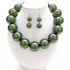 "Chunky JUMBO green pearl silver tone metal necklace set    * If you need a necklace extender I have them for sale in my store.*       Hook Earrings      Necklace: 19"" LONG  + 3"" EXT      COLOR: green and silver tone $23.99"