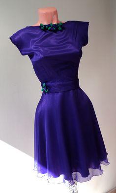 rochie din voal mov cu flori textile