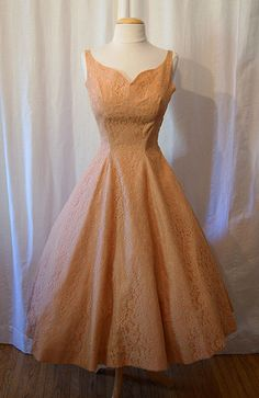 Gorgeous 1950's new look peach and blush pink lace party dress wedding formal pin up girl bride rockabilly - size