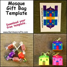 Cute idea for the kids to give out little gifts to their friends on eid -mosque gift bag template ramadan crafts islam muslim Karimas Crafts Ramadan Activities, Craft Activities, Preschool Crafts, Fest Des Fastenbrechens, Diy For Kids, Crafts For Kids, Muslim Holidays, Eid Party, Party Fun