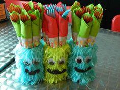Monster party utensils. Cute idea cover jars in fur & add eyes