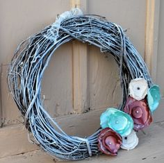 White Washed Grapevine Wreath With Fabric Flowers
