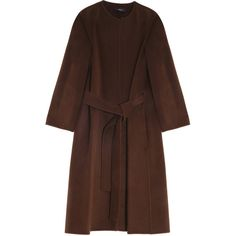 JOSEPH Oslo Coat (1,855 CAD) ❤ liked on Polyvore featuring outerwear, coats, coats & jackets, collarless coat, josephs coat and brown coat