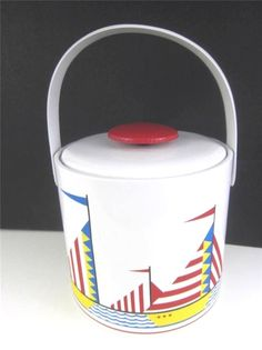 Georges Briard Vintage Signed Ice Bucket Sailboats Nautical Beach Mid Century