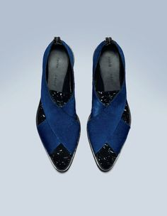 Blue/black pony and speckled leather flat