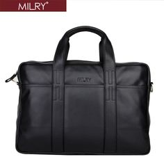 6ade85fb41125 Aliexpress.com   Buy Brand MILRY 100% Genuine Leather Briefcase for men  shoulder bag messenger bag for laptop cowhide handbag black P0074 1 from  Reliable ...