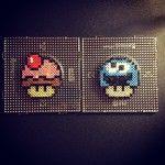 Cupcake Mario Mushroom Perler Bead Pattern (Plus Goomba Mushroom)