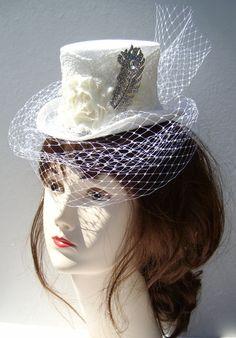 Marie Antoinette mini wedding top hat headpiece by RococoBarocco, $115.00