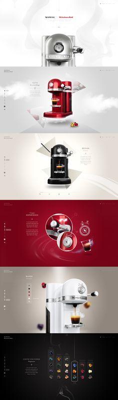 Nespresso by Kitchenaid - Webdesign by Steve Fraschini - https://dribbble.com/shots/1923979-Nespresso-by-Kitchenaid-Website?list=users&offset=0