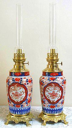 Rare Pair of Imari Oil Lamps