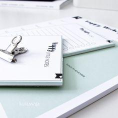 Organisieren leicht gemacht mit kukuwaja - Unsere Stationery Happy Serie bestehend aus dem Happy Weekly Planner, Happy Little Notes Notepad und dem Things to do Notepad via www.kukuwaja.de