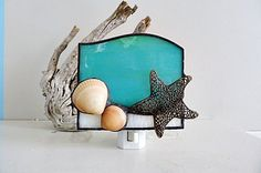 Stained Glass, Aqua Night Light, Starfish Finding, with Seashells  I used an Aqua Marine glass for the main backdrop of this stained glass night