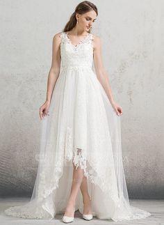 [US$ 189.99] A-Line/Princess V-neck Asymmetrical Tulle Lace Wedding Dress (002088473)