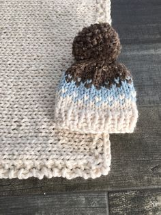 Fair Isle Baby Chunky Hat with Pom Pom in Glacier, Barely and Fisherman and matching blanket. Photo Prop//Bringing Home Baby