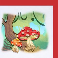 6x6 Paper quilling greeting card - Mushrooms