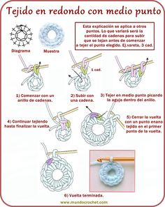 Tejido en redondo con punto vareta - How to crochet rounds - вязание крючком круг, как Crochet Cord, Love Crochet, Learn To Crochet, Diy Crochet, Irish Crochet, Crochet Diagram, Crochet Motif, Crochet Stitches, Crochet Patterns