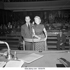 Prague Czechoslovakia - 1950. Show trial constructed by Communist government against  two employees of United States - Stock Image