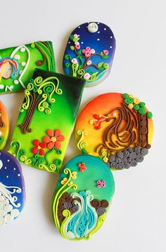 We did these Enchanted Forest theme cookies, using airbrush and paper quilling technique. We tried to capture elements from the Inspiration Challenge Pinterest board :), enchanted forest, butterfly, dragonfly, dragon, waterfall, unicorn, fairy etc. Thank you for letting us post these.   Celebrations