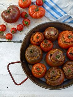 Simple is best here – vegetarian stuffed tomatoes with rice, pine nuts and currants, which come out tasting more tomatoey than the tomatoes ever were . Stuffed Tomatoes, Stuffed Peppers, Greek Cookbook, Ham Dishes, Rice Stuffing, Tomato Rice, Long Grain Rice, Summer Tomato, Greek Salad